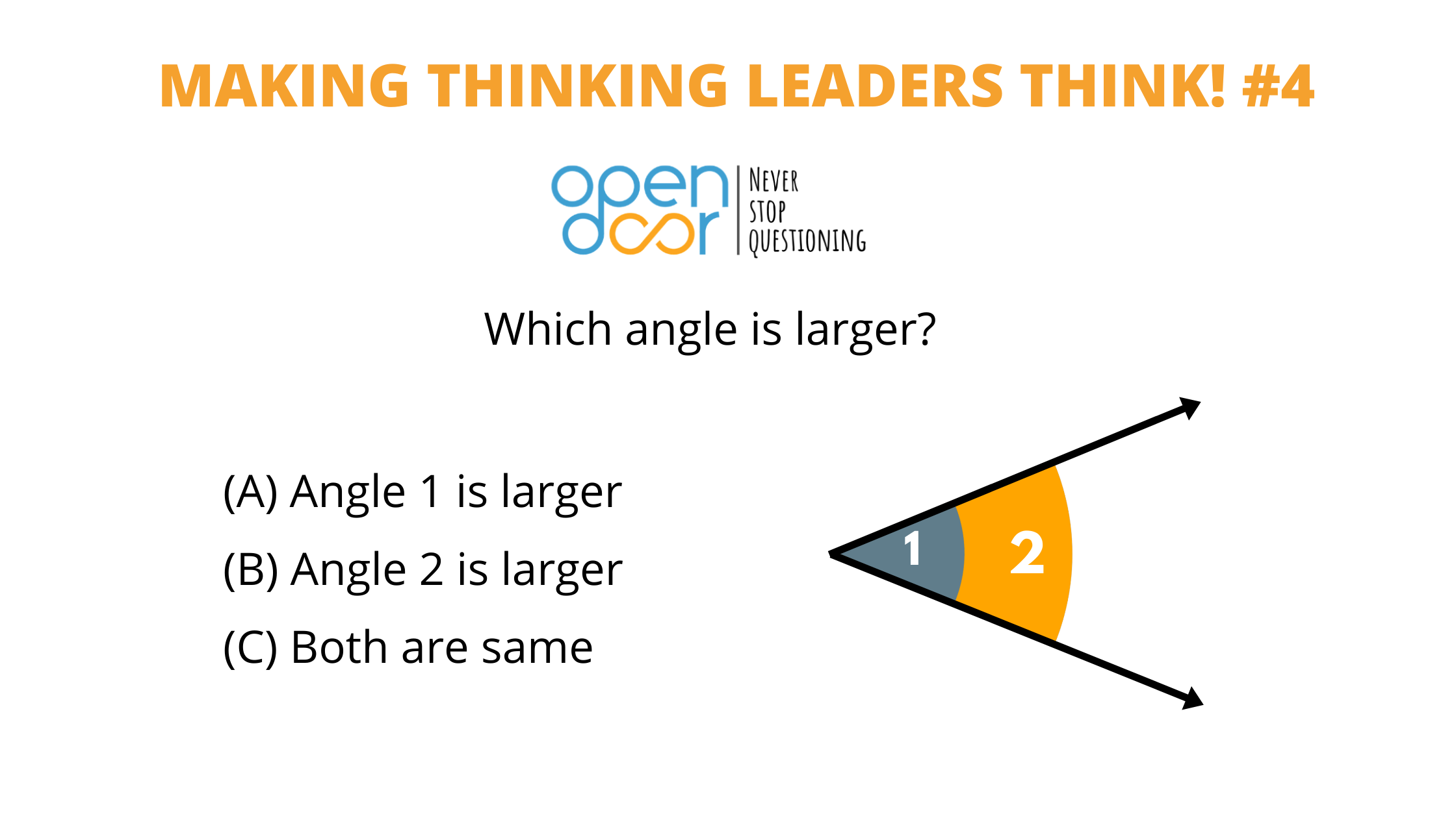 Q#4: Which of the two angles is larger? Winners announced